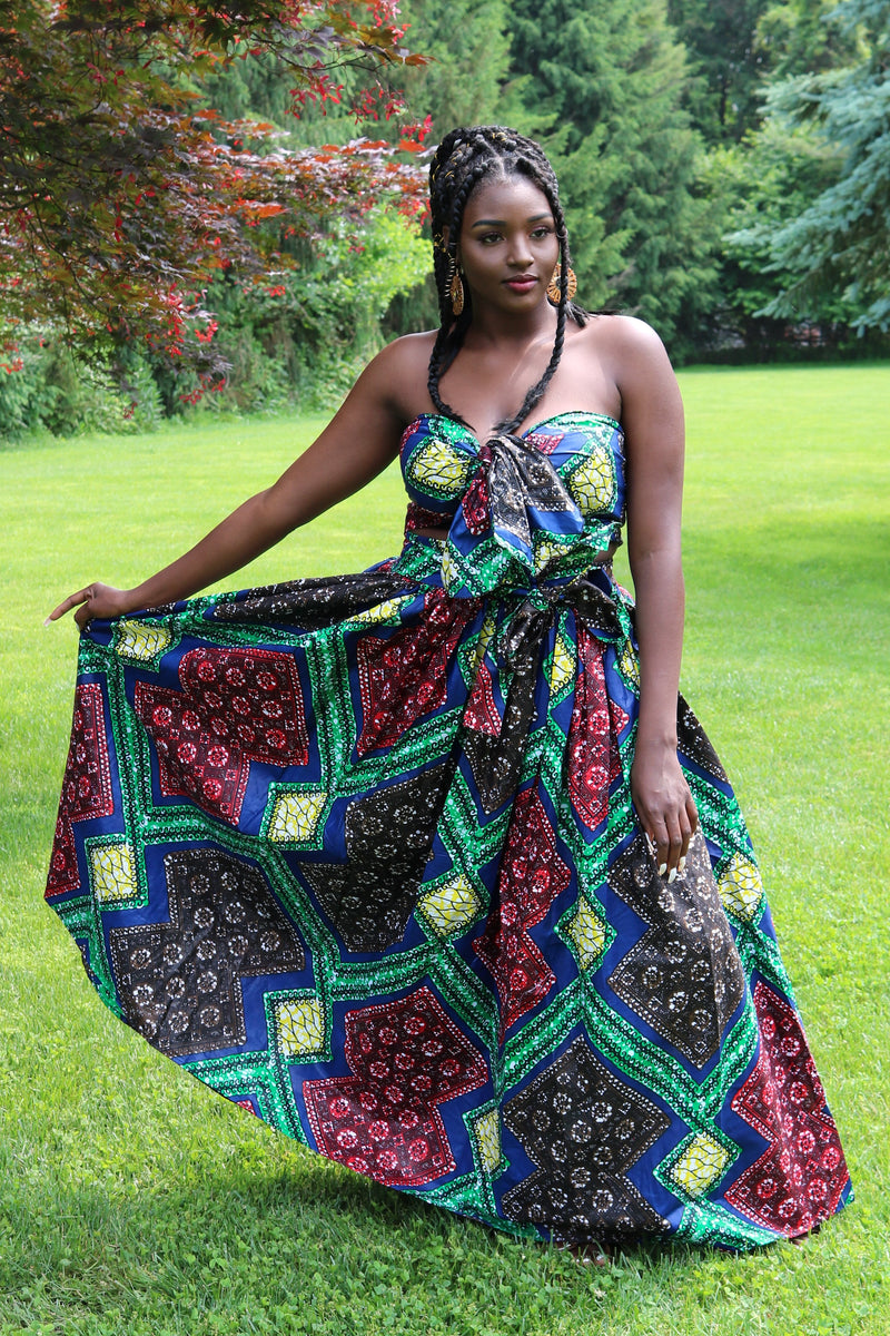 Multi Color African Wax Print Maxi Skirt