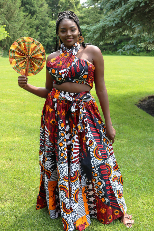 Orange African Wax Print Maxi Skirt