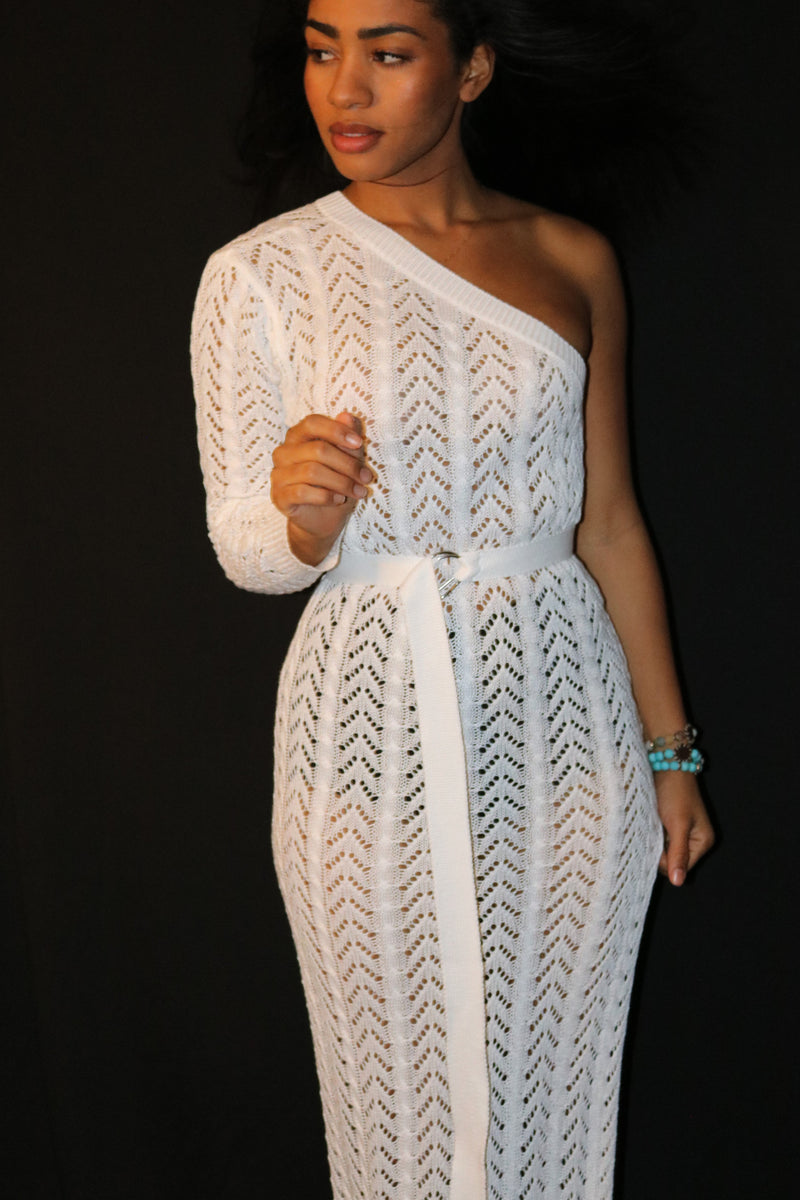 White One Shoulder Knit Maxi