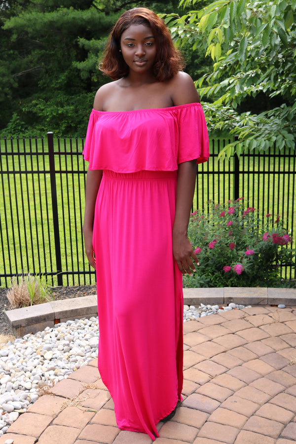 Off the Shoulder Ruffle Maxi Dress