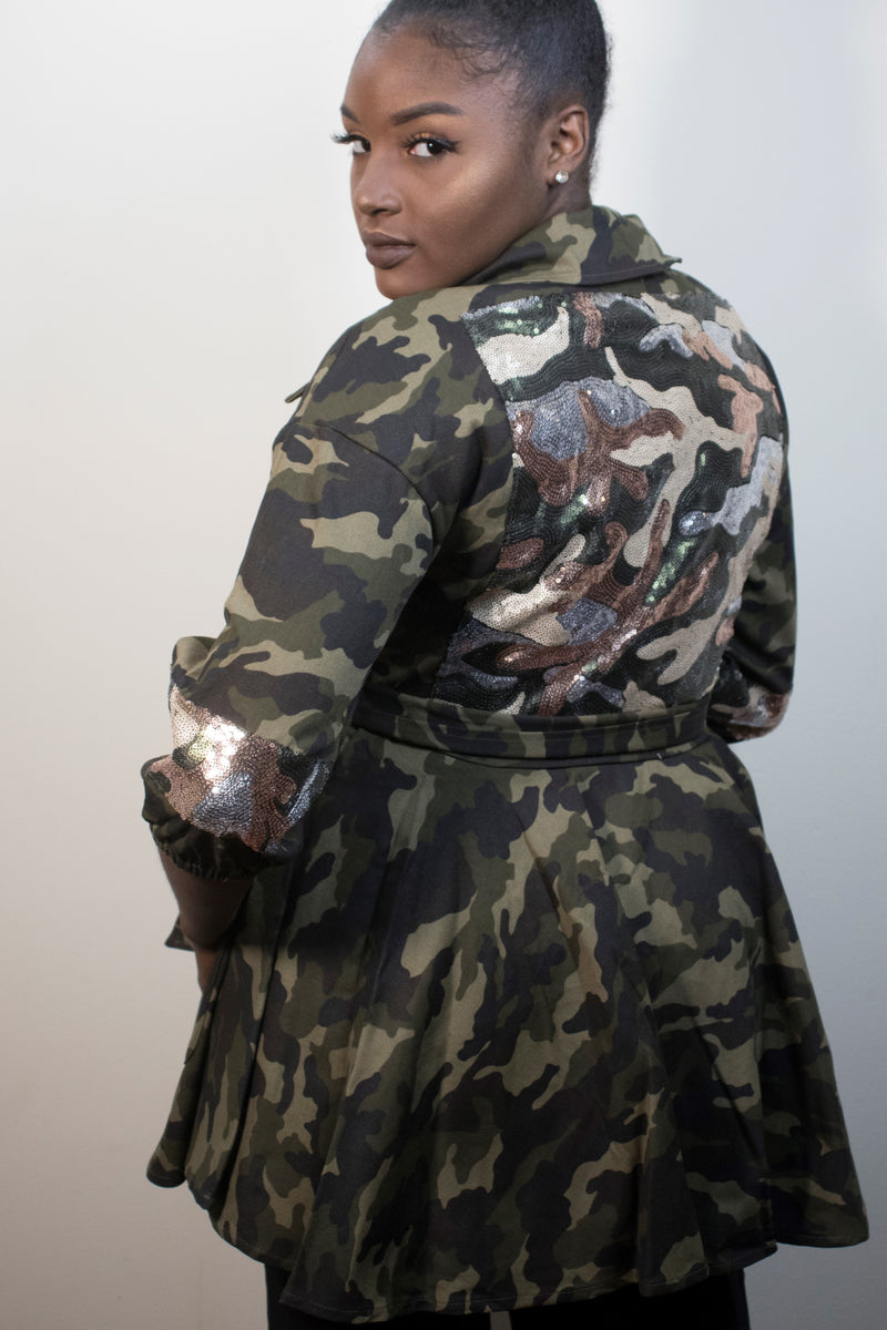 Camo Peplum Jacket with Sequin Back