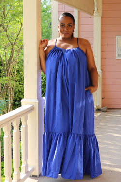 Kayla Blue Over-Sized Maxi Dress