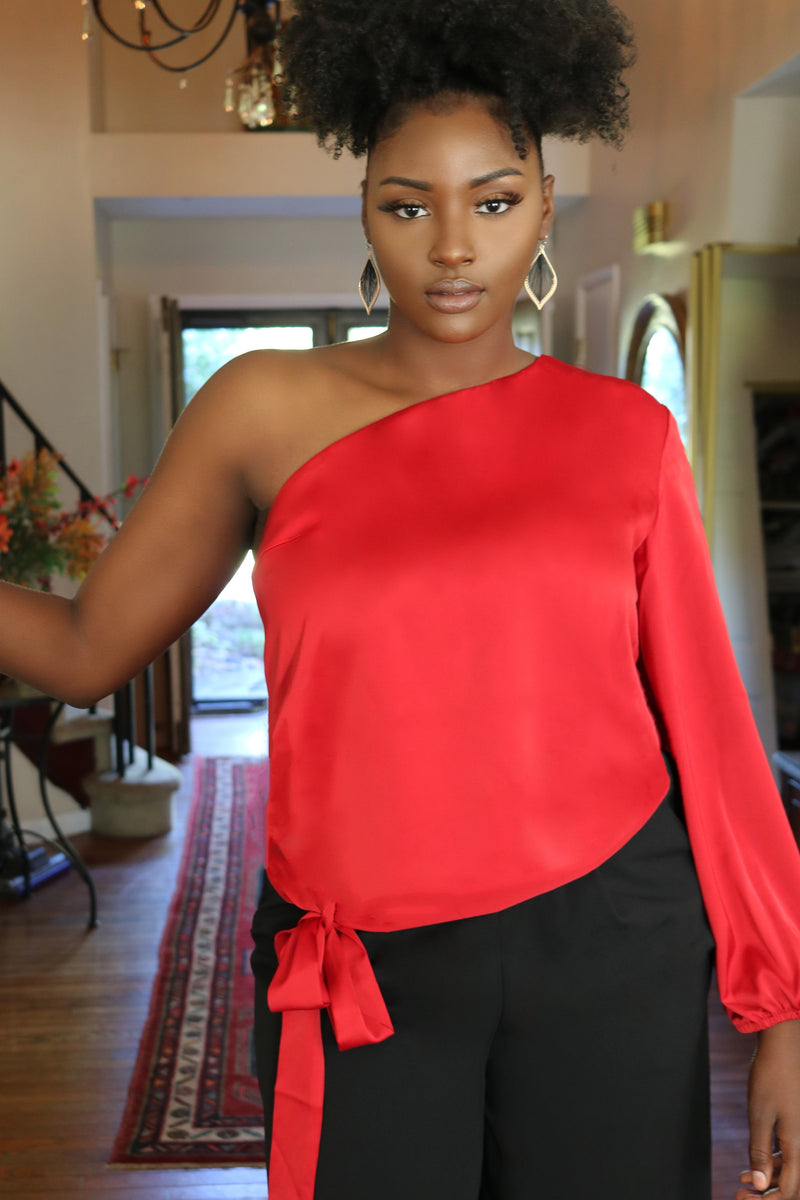 Simone Red One Shoulder Satin Top