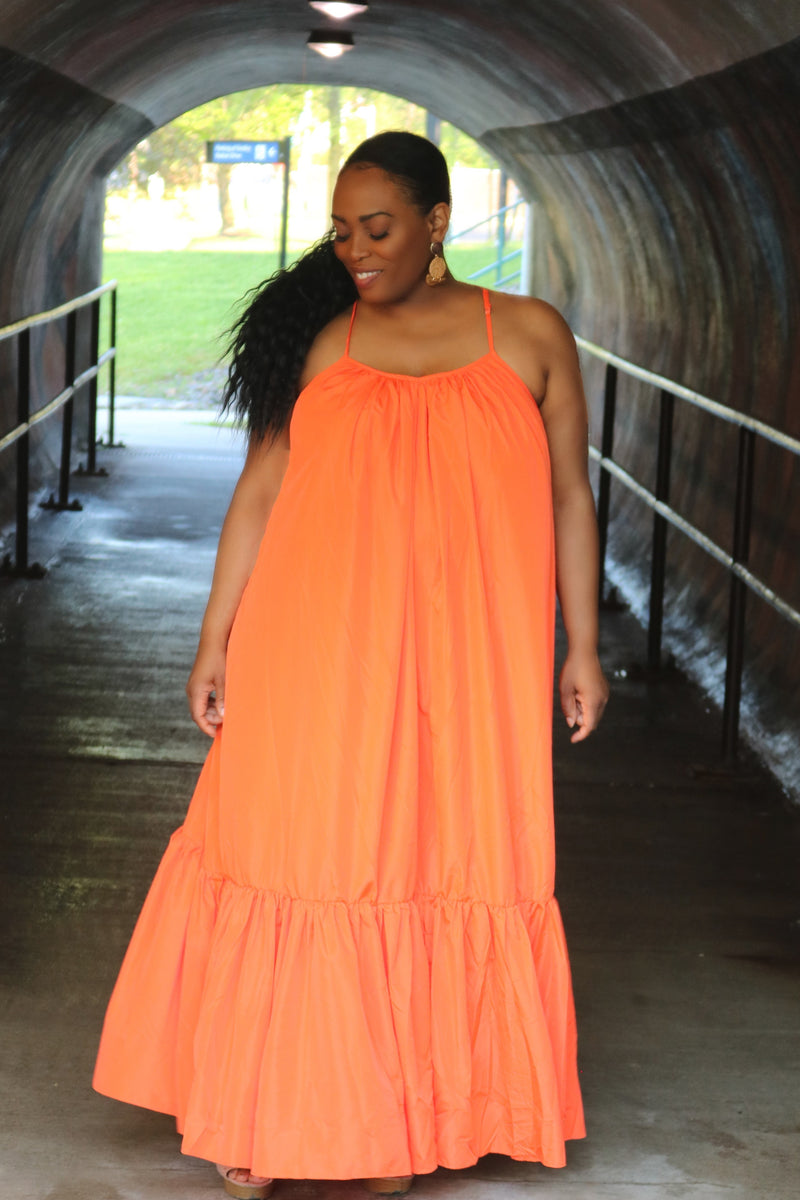 Kayla Orange Over-Sized Maxi Dress