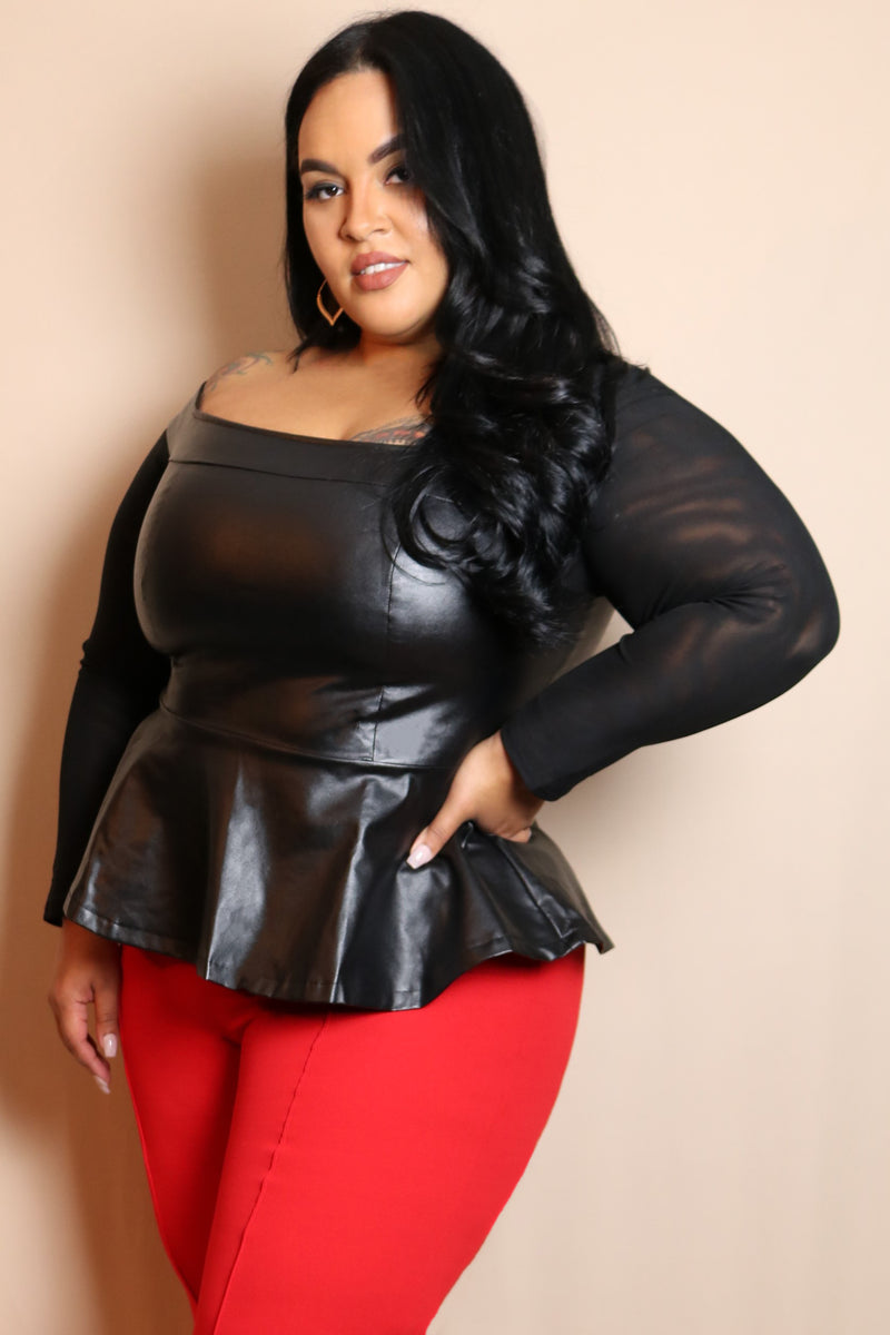 Black Faux Leather Peplum Top
