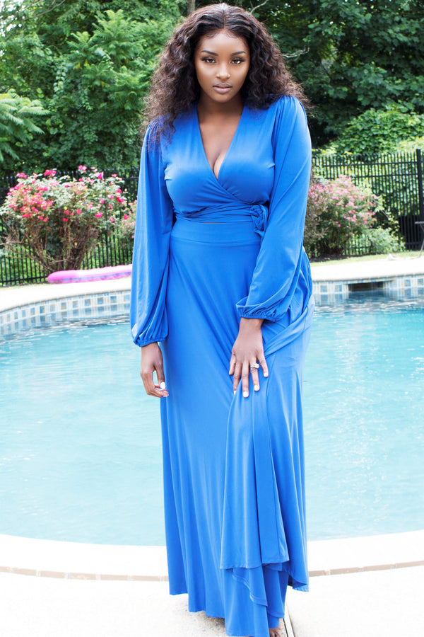 Blue Two-Piece Maxi Skirt Set with Wrap Top