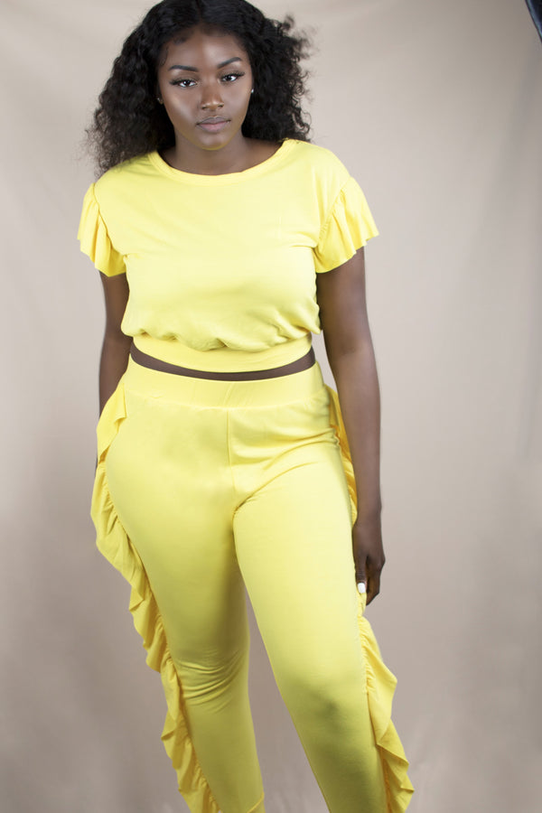 Yellow Two-Piece Sweatsuit with Ruffles