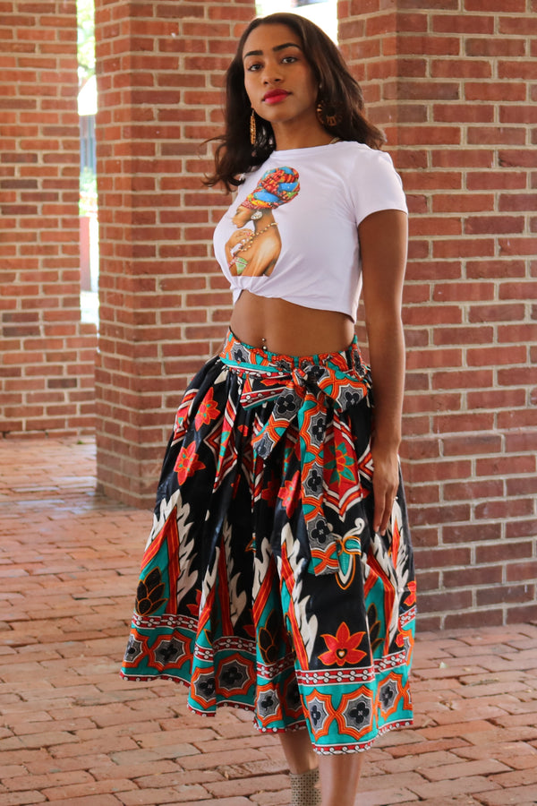 Black and Red African Wax Print Midi Skirt