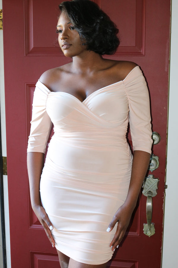 Taupe Surplice Off The Shoulder Dress