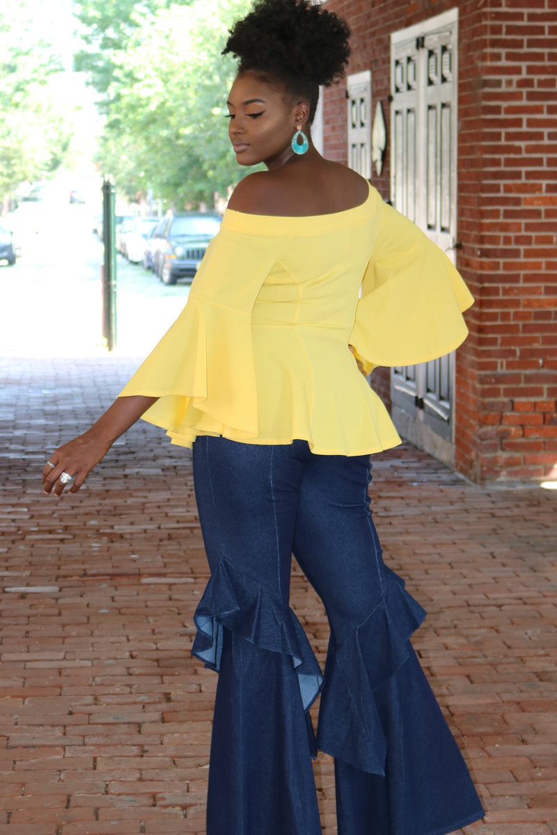 Yellow Peplum Top with Bell Sleeves