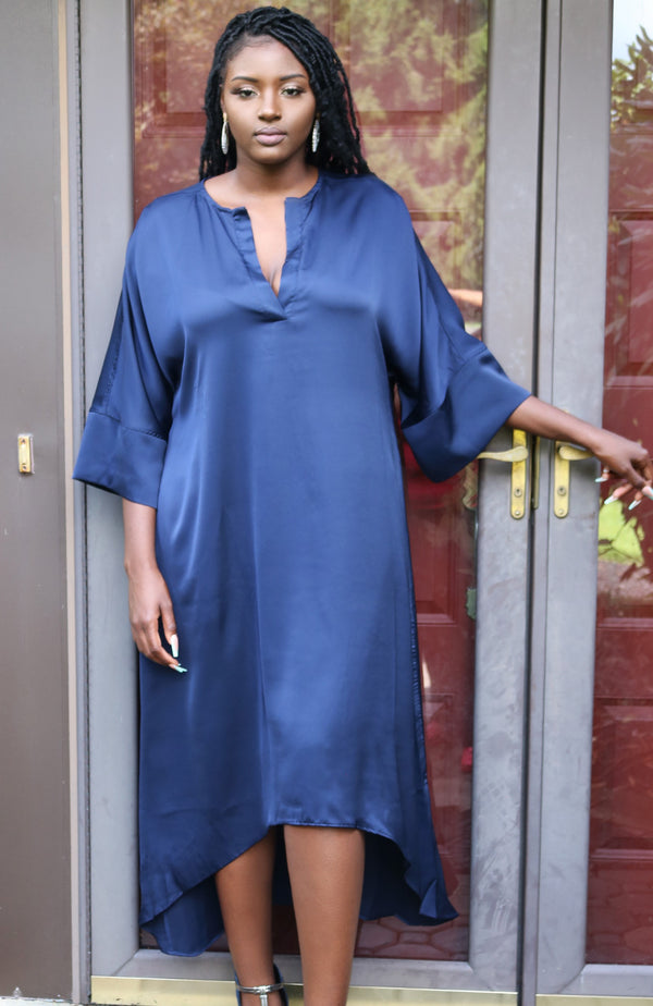 Camille Navy Satin Caftan Dress