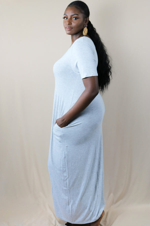Mia Heather Grey Loose T-Shirt Maxi Dress