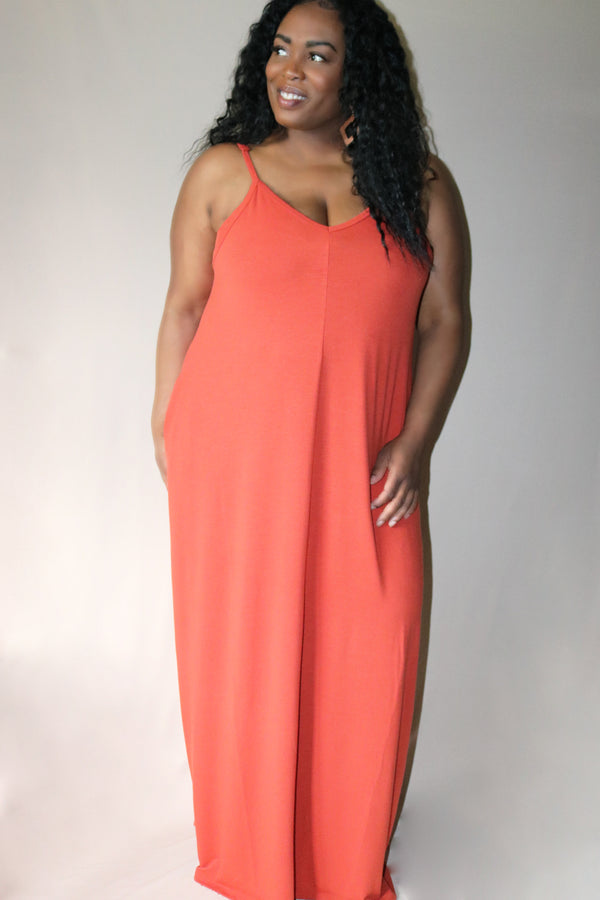 Maya Copper Cami Style Maxi Dress