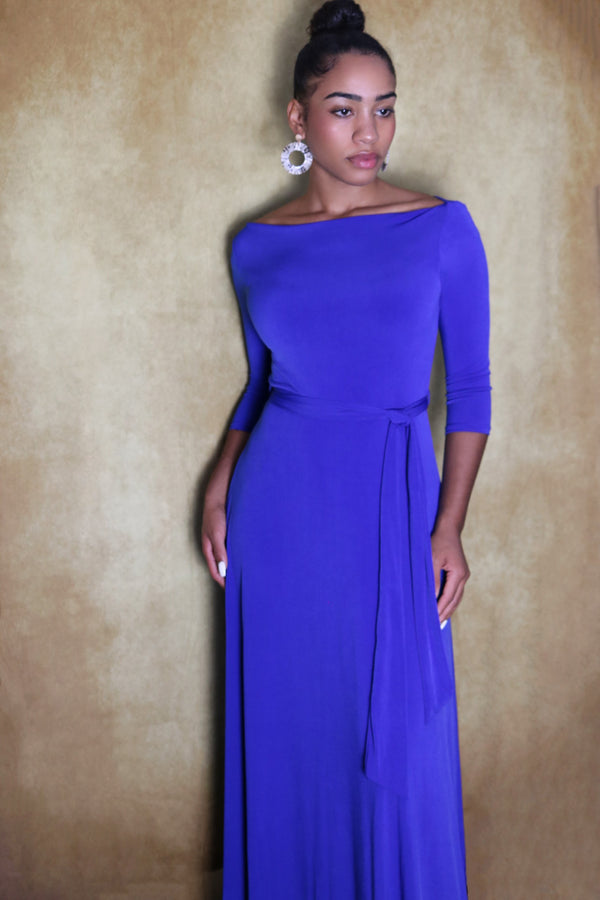 Bria Royal Blue Boat Neck Maxi Dress