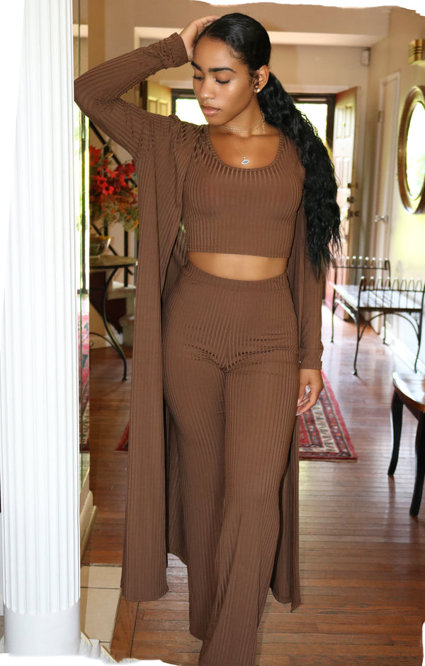Tasha Coffee Three Piece Pant Set