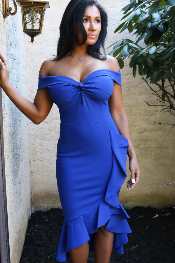 Royal Blue Off The Shoulder Hi Low Ruffle Dress