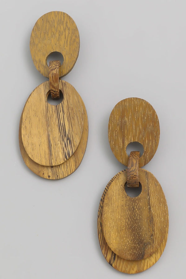 Wood Double Drop Oval Earrings
