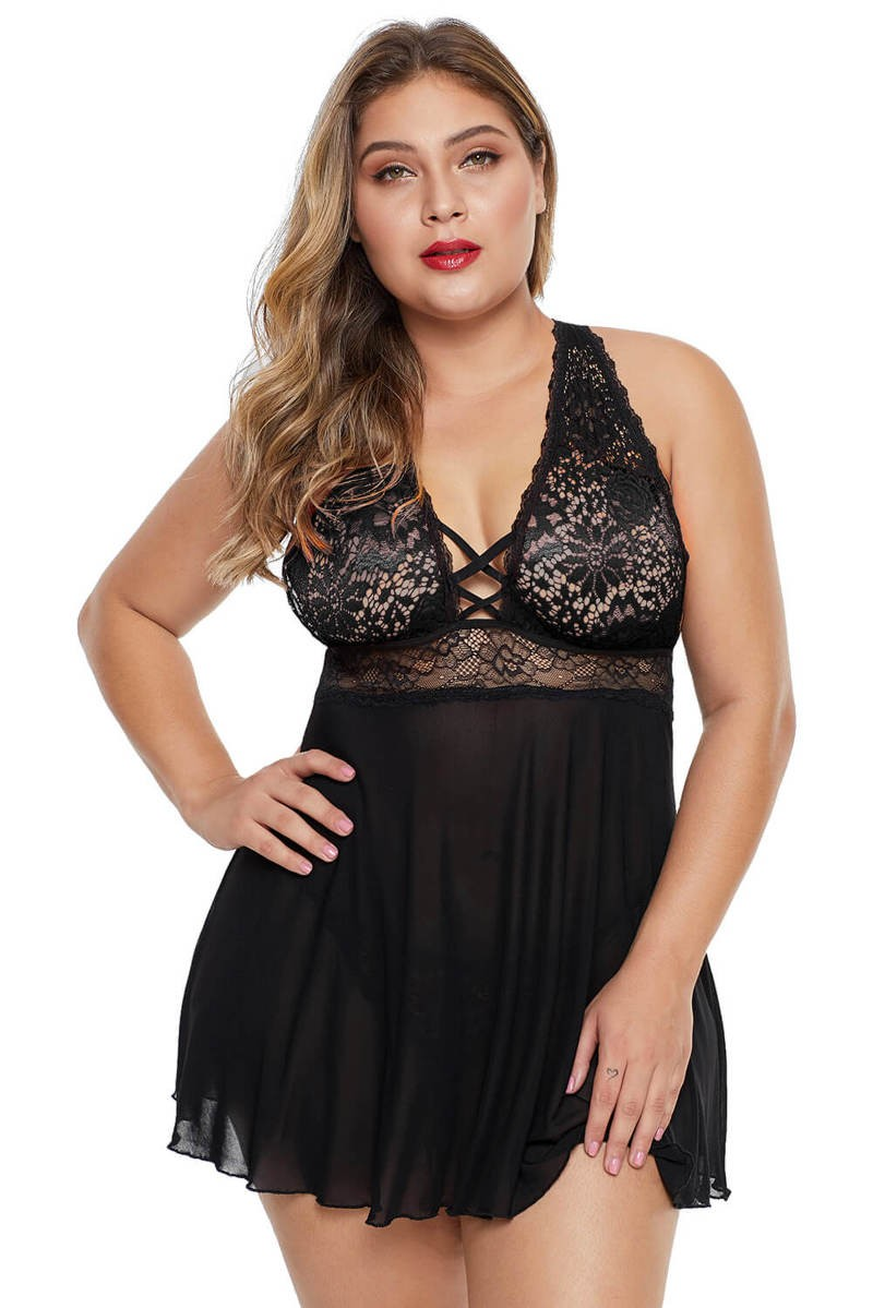 Black Plus Size Lattice Babydoll Set