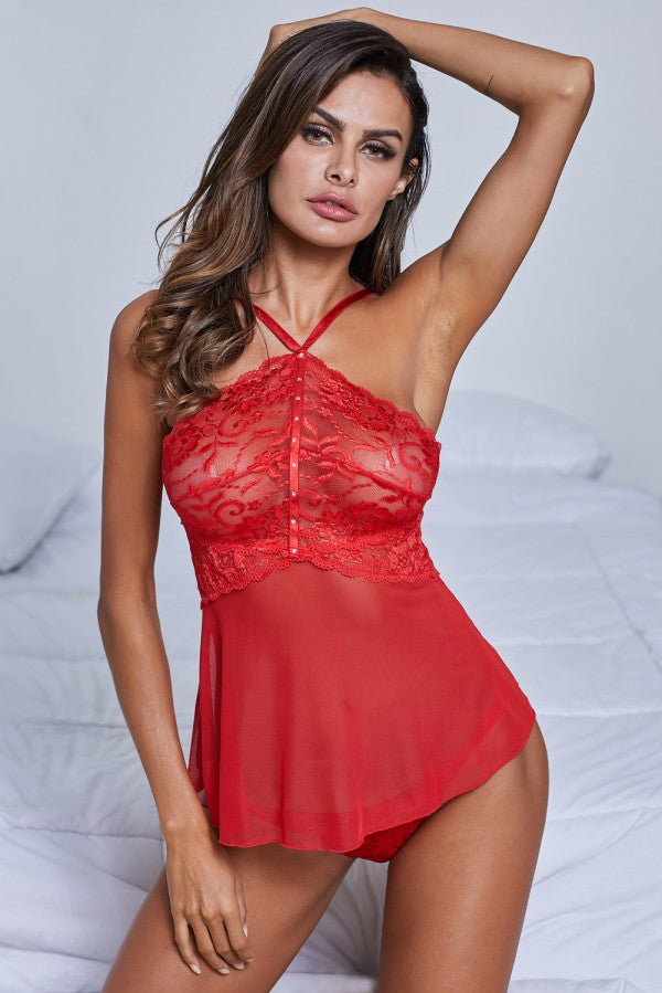 Red Sheer Lace Babydoll Lingerie Set