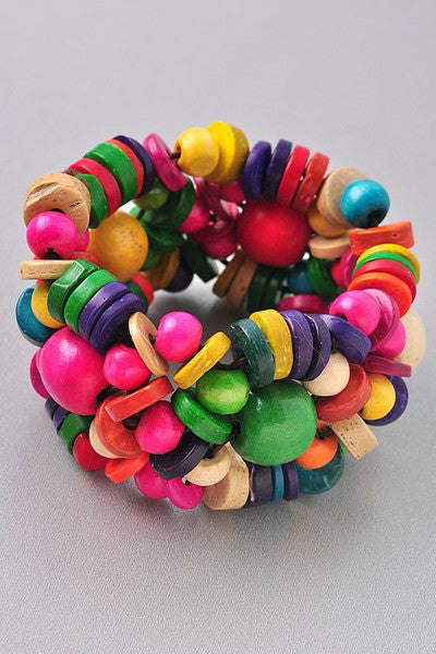 Multi-Color Wood Bead Chunky Bracelet