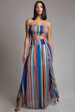 Multi Color Stripe Skirt Set
