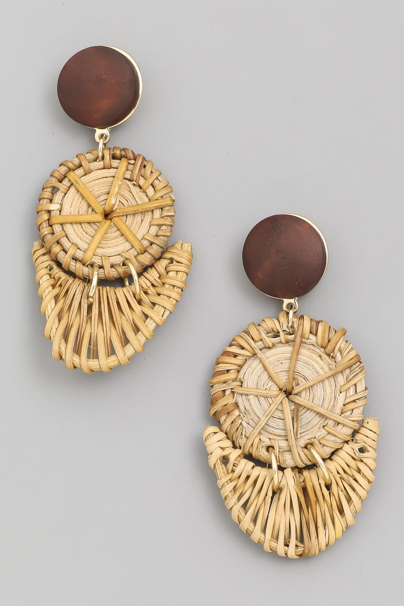 Straw Double Drop Post Earrings