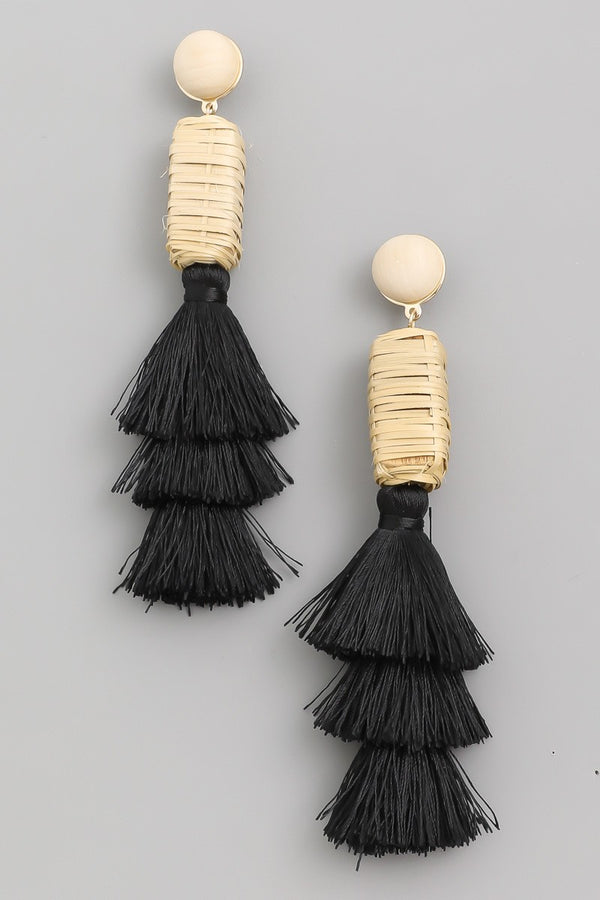 Triple Tassel Tier with Straw Earrings