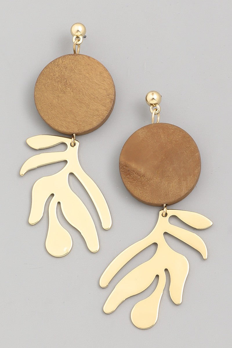 Wood Circle Drop Earrings with Geo Shape