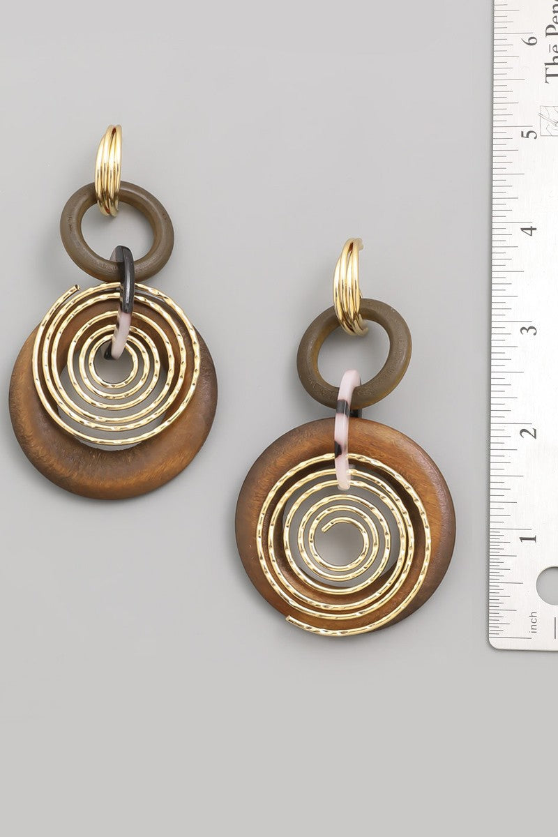 Wood Round Disc Earrings with Gold Trim