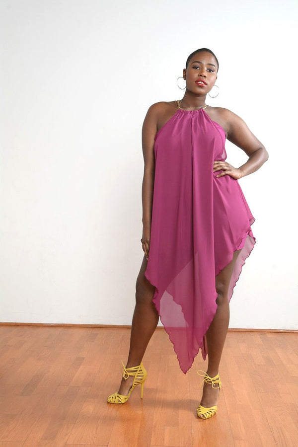 Purple Pointed Chiffon Midi Dress
