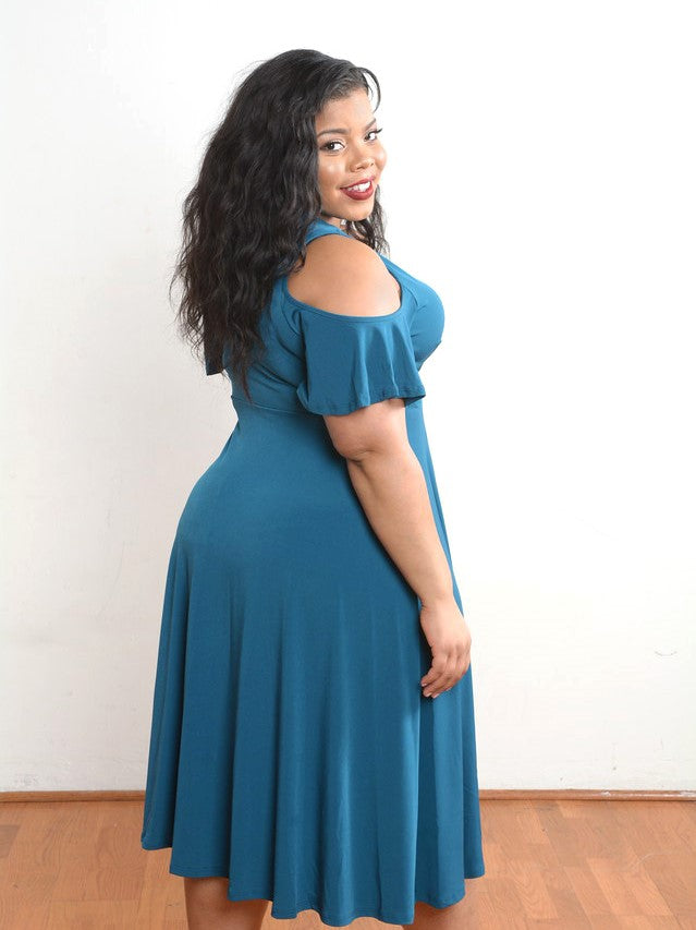 Teal Blue Mock Wrap Swing Dress