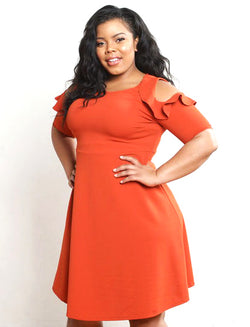 Orange Ruffled Cold Shoulder Flare Dress