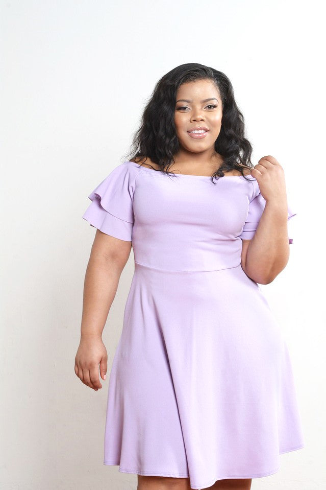 Lilac Off the Shoulder Fit and Flare