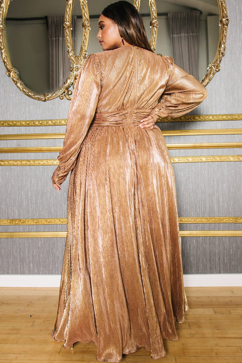 Bronze Surplice Maxi Dress