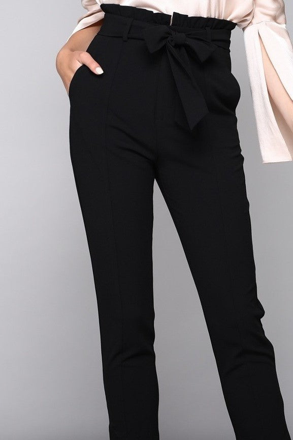 Black Paperbag Skinny Pants