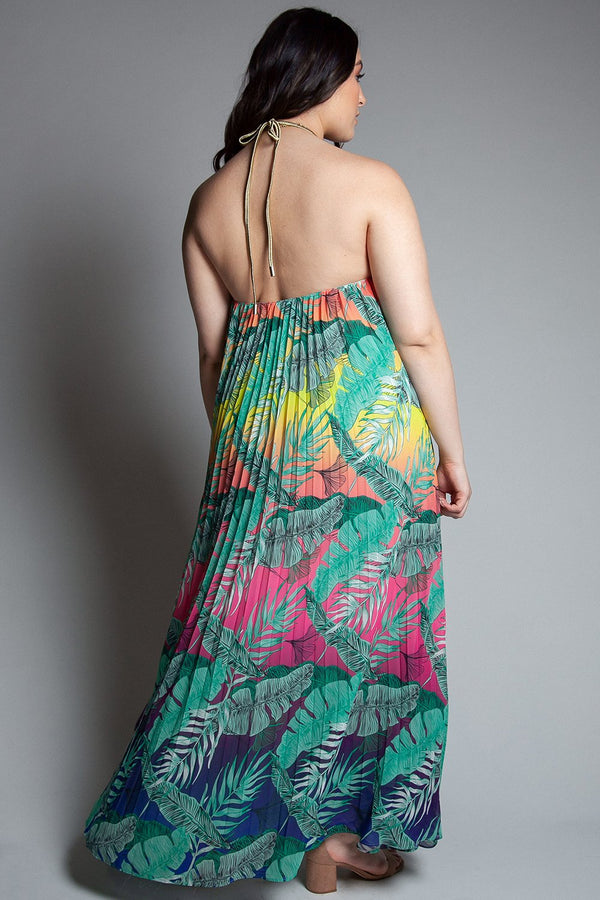 Tropical Pleated Halter Maxi Dress