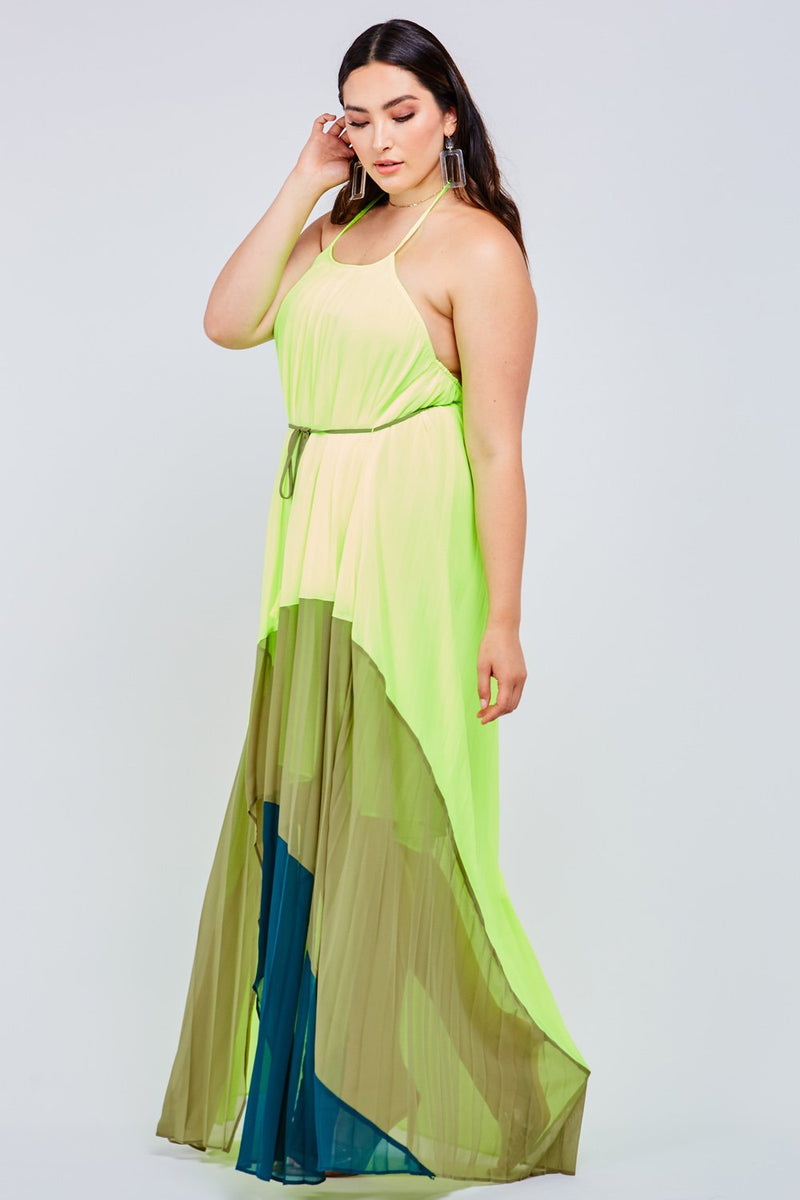 Green Neon Colorblock Maxi