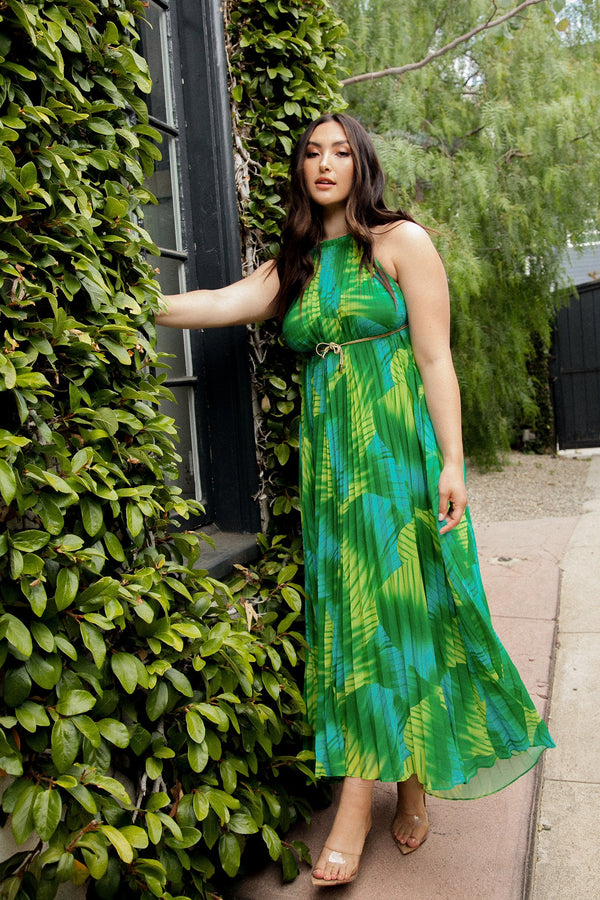 Green Tropical Pleated Halter Maxi Dress