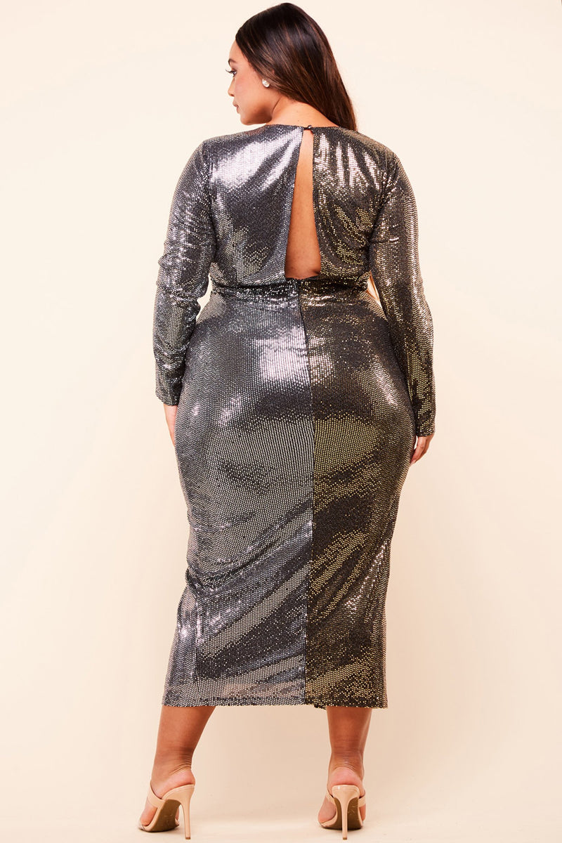 Two-Tone Gold and Silver Sequin Maxi Dress