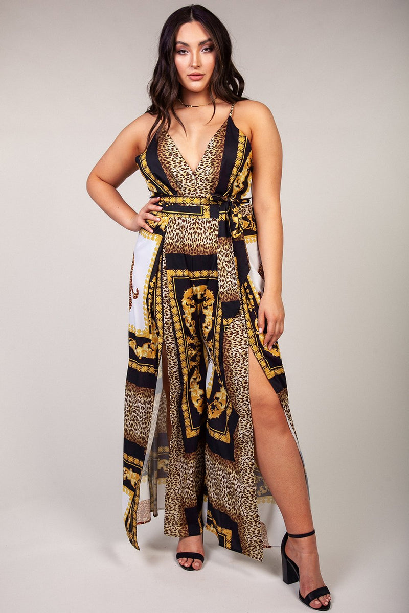Leopard Mix Print Jumpsuit