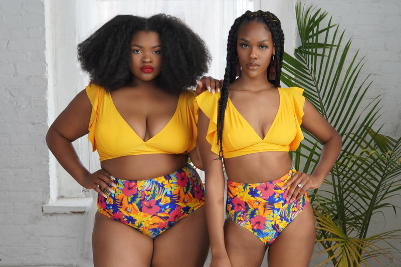 Yellow Print Two-Piece Swimsuit