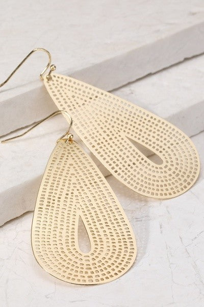 Laser Cut Teardrop Dangle Earrings