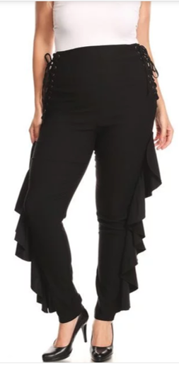 Black Side Ruffle Pant