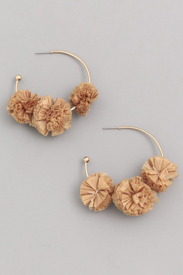Flower Puff Hoop Earrings