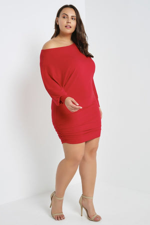 Red Dolman Sleeve Ruched Dress