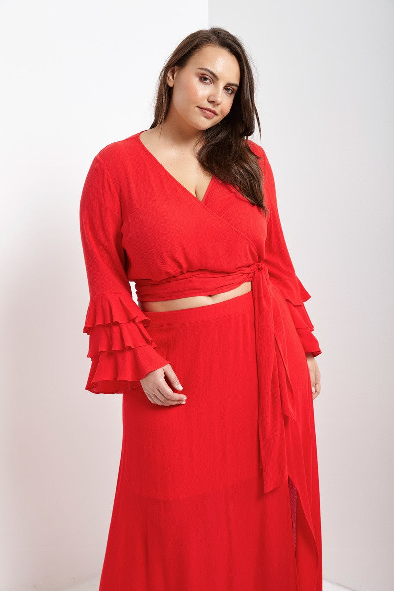 Red Maxi Skirt with Side Slit