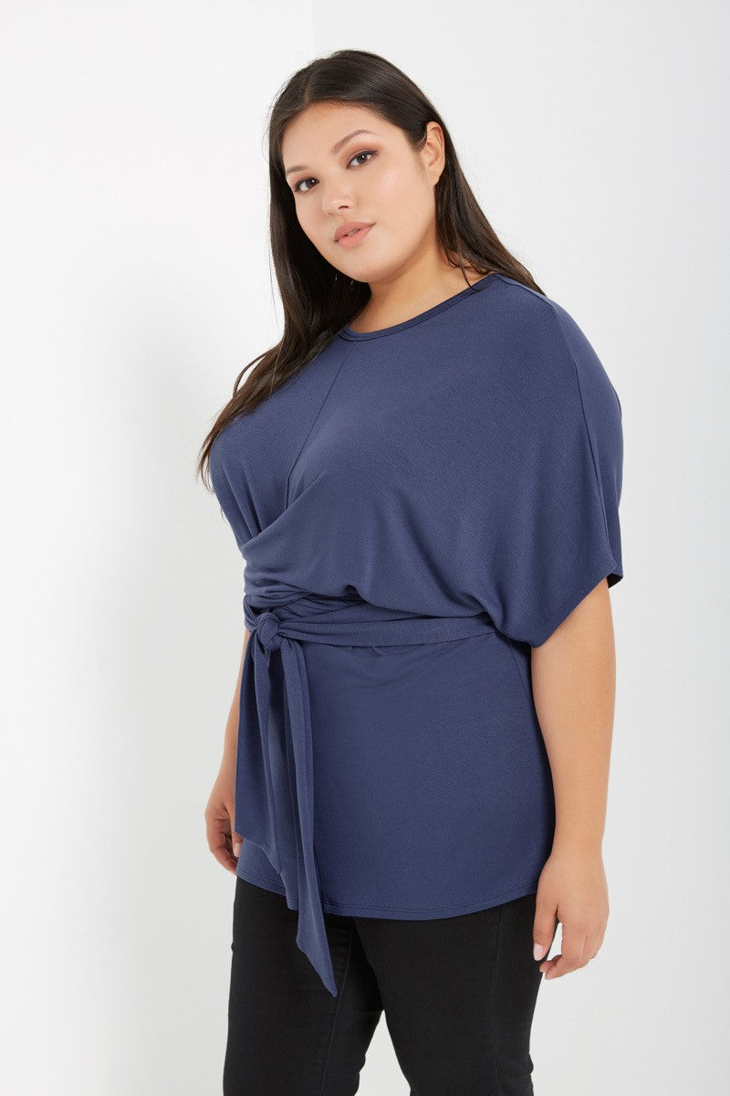 Blue Tie Front Dolman Sleeve Top