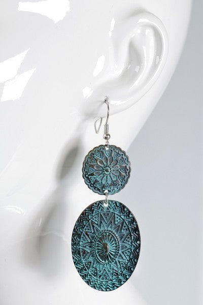 Bohemian Mandala Oval Hook Earrings