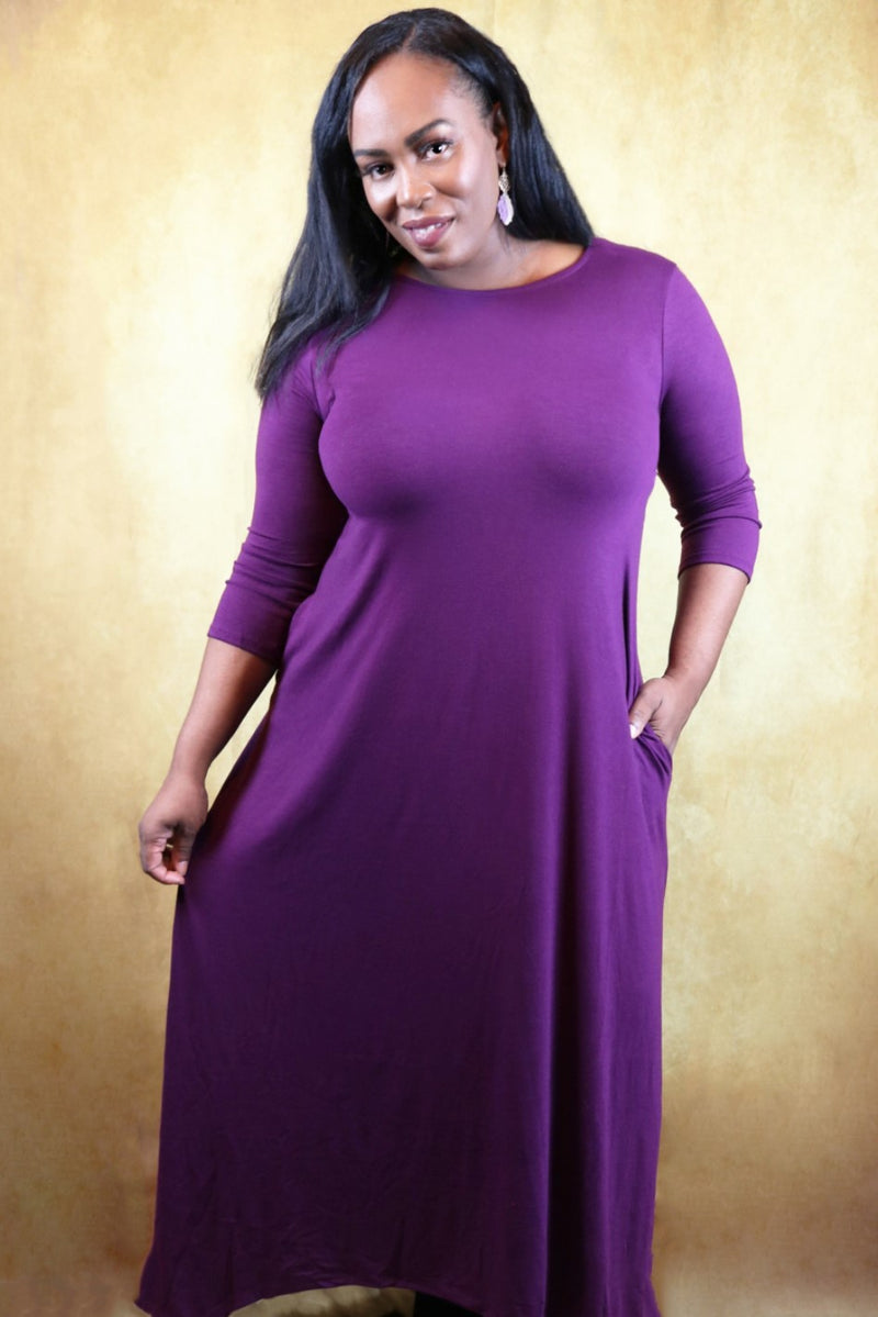 Malia Purple High Low Hem Maxi Dress