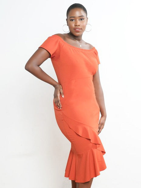 Orange Off the Shoulder Ruffle Hem Dress